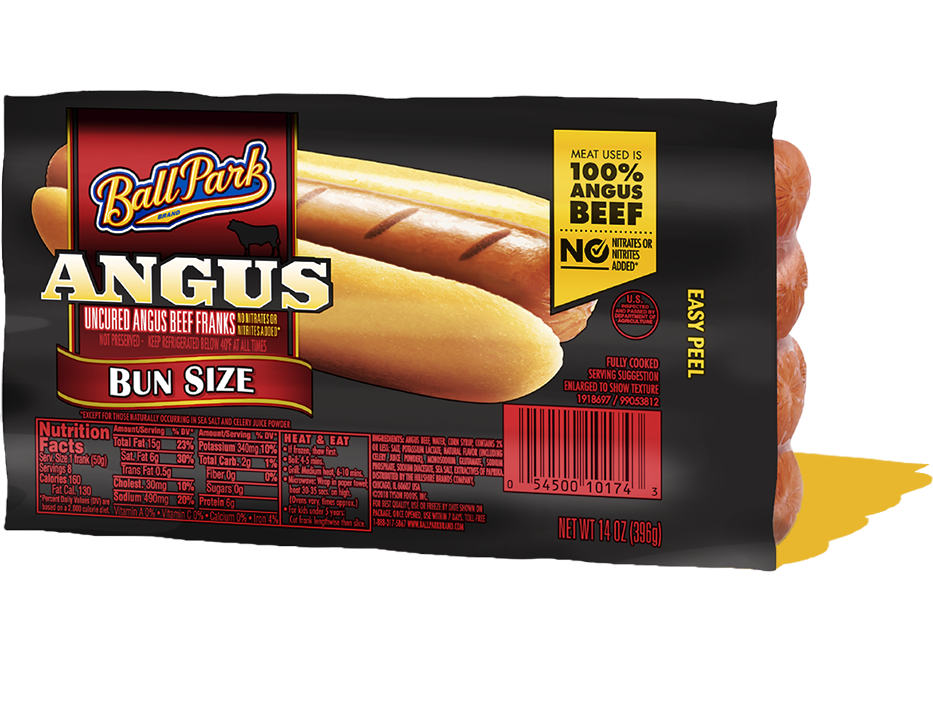 Ball Park Bun Size Angus Beef Hot Dogs