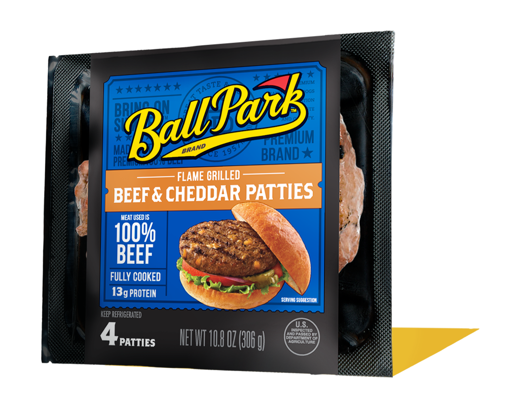 Ball Park Fully Cooked Refrigerated Beef Cheddar Cheese Burger Patties