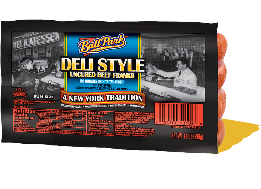 Ball Park Bun Size Deli Style Beef Hot Dogs