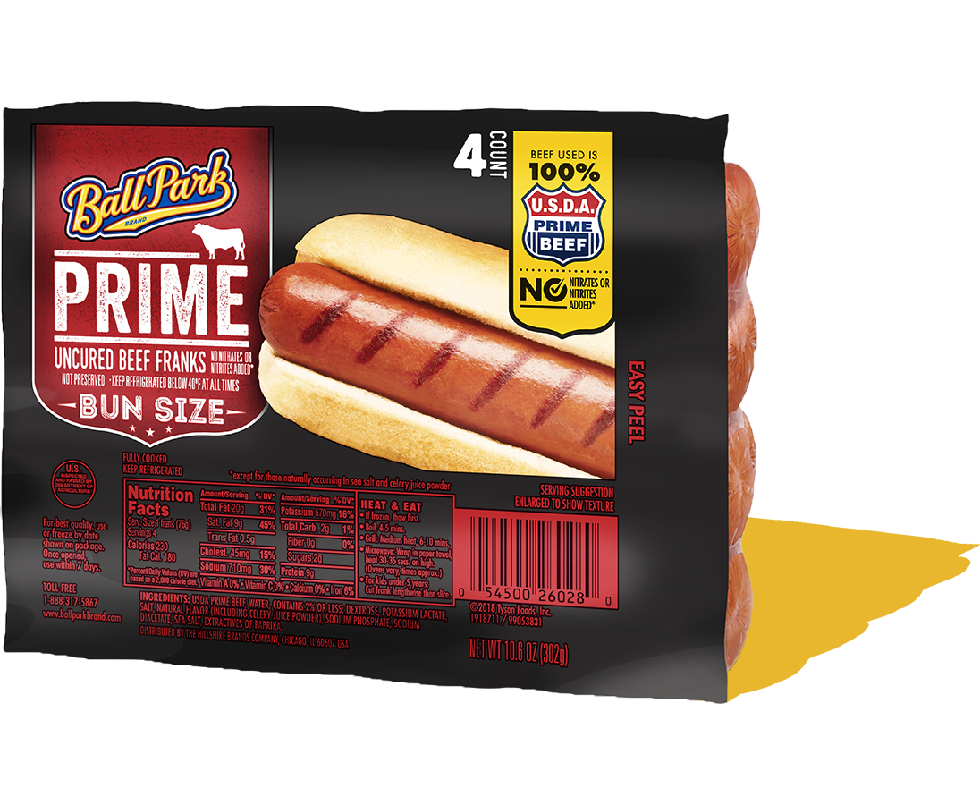 Ball Park Bun Size Prime Beef Hot Dogs